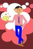 L'homme avec un bouquet de couleurs Images libres de droits