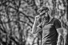 L'homme barbu enlève des lunettes de soleil le jour ensoleillé Concept de masculinité L'homme avec la longue barbe semble élégant photographie stock libre de droits