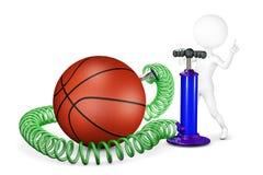 L'homme blanc pompe une boule pour le basket-ball Image stock