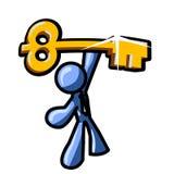 L'homme bleu retient la clé sur la réussite Images stock