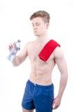 L'homme boit l'eau Photographie stock libre de droits