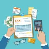 L'homme calcule l'impôt Le paiement de l'impôt, comptes, affiche le concept Calculatrice, calendrier, feuille d'impôt pour le pre illustration stock