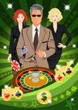 L'homme chanceux sûr tourne la roulette Illustration Libre de Droits