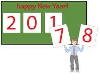 L'homme change les cartes de nouvelle année de 7 en 8 La bonne année d'inscription ! concept des vacances du ` s de nouvelle anné Photos stock