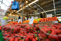 L'homme commerce des fruits Photographie stock