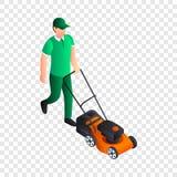 L'homme a coupé l'icône d'herbe, style isométrique illustration libre de droits