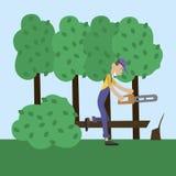 L'homme a coupé le bois Photographie stock libre de droits