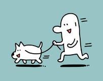 L'homme courent avec son chien, homme simple illustration libre de droits