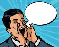 L'homme crie fort Illustration de vecteur dans l'art de bruit comique de style illustration de vecteur