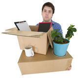 l'homme déménage le bureau autre Images stock