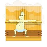 L'homme détend dans le sauna avec la vapeur Images libres de droits