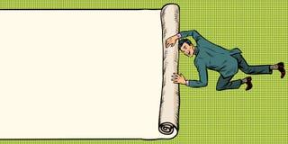 L'homme dévoile l'espace de papier de copie de fond de plis Illustration de Vecteur