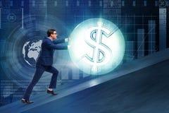 L'homme d'affaires éloignant la boule du dollar Images libres de droits