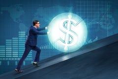 L'homme d'affaires éloignant la boule du dollar Photo stock