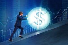 L'homme d'affaires éloignant la boule du dollar Photographie stock
