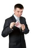 L'homme d'affaires affiche les deux factures par dix euro Images libres de droits