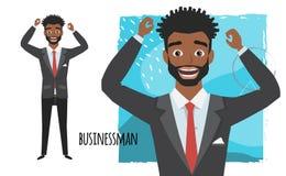 L'homme d'affaires américain d'africain noir est heureux et sourire Émotion de joie et d'allégresse sur le visage d'homme illustration libre de droits