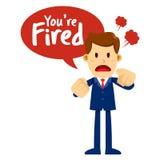 L'homme d'affaires With Angry Face vous disant sont mis le feu Image libre de droits