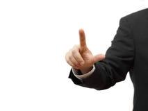 L'homme d'affaires appuyant sur le bouton virtuel, préparent pour le texte Photos stock