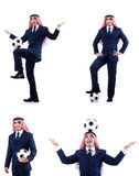 L'homme d'affaires arabe avec le football Photographie stock
