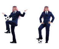 L'homme d'affaires arabe avec le football Image stock