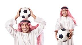 L'homme d'affaires arabe avec le football sur le blanc Image stock
