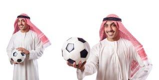 L'homme d'affaires arabe avec le football sur le blanc Photographie stock libre de droits