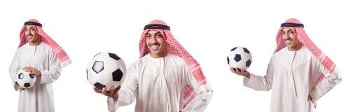 L'homme d'affaires arabe avec le football sur le blanc Images libres de droits