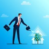 L'homme d'affaires arrose un arbre monétaire Images libres de droits