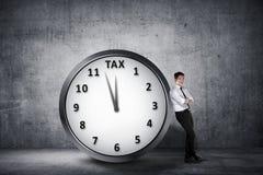 L'homme d'affaires asiatique heureux se penchent de retour sur l'horloge avec la date-butoir Tim image libre de droits