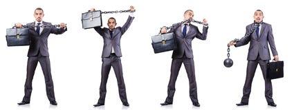 L'homme d'affaires avec des dispositifs d'accrochage sur le blanc Photos libres de droits