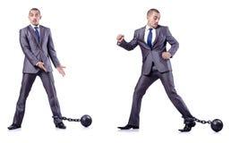 L'homme d'affaires avec des dispositifs d'accrochage sur le blanc Photographie stock libre de droits
