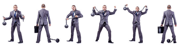 L'homme d'affaires avec des dispositifs d'accrochage sur le blanc Photos stock