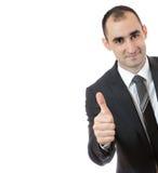 L'homme d'affaires avec des pouces lèvent le signe Photos stock