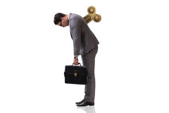 L'homme d'affaires avec la clé dans le concept assidu photos stock