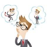L'homme d'affaires avec la pensée bouillonne, ange, diable illustration libre de droits