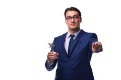 L'homme d'affaires avec la récompense d'étoile d'isolement sur le blanc Images libres de droits