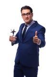 L'homme d'affaires avec la récompense d'étoile d'isolement sur le blanc Photographie stock