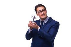 L'homme d'affaires avec la récompense d'étoile d'isolement sur le blanc Photo libre de droits