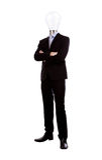 L'homme d'affaires avec la tête de lampe ont une idée photos libres de droits