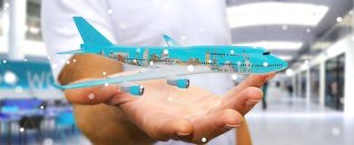 L'homme d'affaires avec les points de repère plats et célèbres du monde 3D les déchirent Image libre de droits