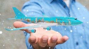 L'homme d'affaires avec les points de repère plats et célèbres du monde 3D les déchirent Images stock