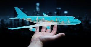 L'homme d'affaires avec les points de repère plats et célèbres du monde 3D les déchirent Photographie stock
