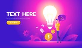 L'homme d'affaires avec une ampoule offre de nouvelles id?es Dossier de l'illustration Eps10 de vecteur E illustration stock