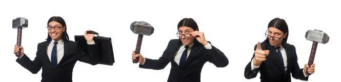 L'homme d'affaires bel tenant le marteau et caisse d'isolement sur le blanc photographie stock libre de droits