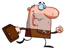 L'homme d'affaires chanceux marche avec la serviette Image libre de droits