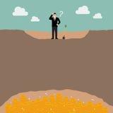 L'homme d'affaires confus ne peut pas trouver le trésor illustration libre de droits