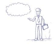 L'homme d'affaires considèrent la bulle de pensée de causerie de nuage illustration stock