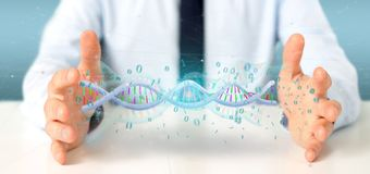 L'homme d'affaires contenant des données du rendu 3d a codé l'ADN avec le fi binaire Photos stock