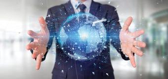 L'homme d'affaires contenant des données du rendu 3d mettent à la terre le globe Images libres de droits